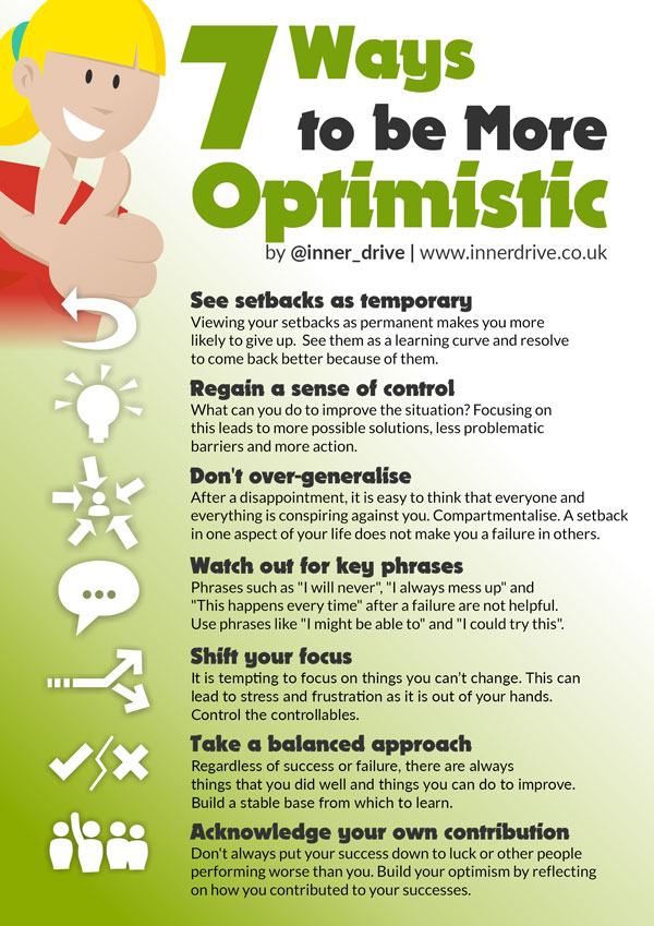 7 ways to be more optimistic infographic poster