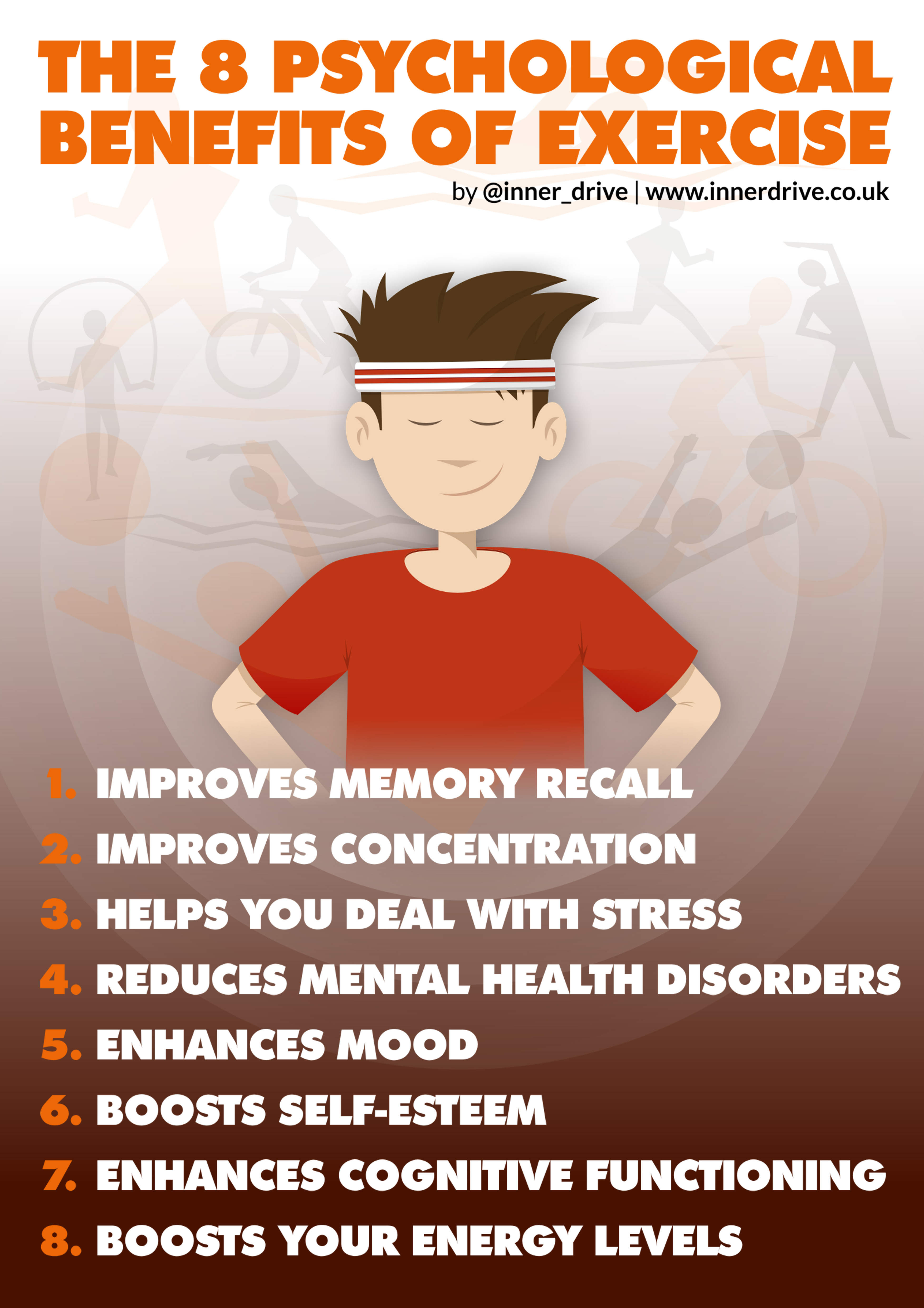 psychological benefits of exercise What are the psychological benefits of exercise with depression improved self-esteem is a key psychological benefit of regular physical activity when you exercise, your body releases chemicals called endorphins these endorphins interact with the receptors in your brain that reduce your perception of pain.