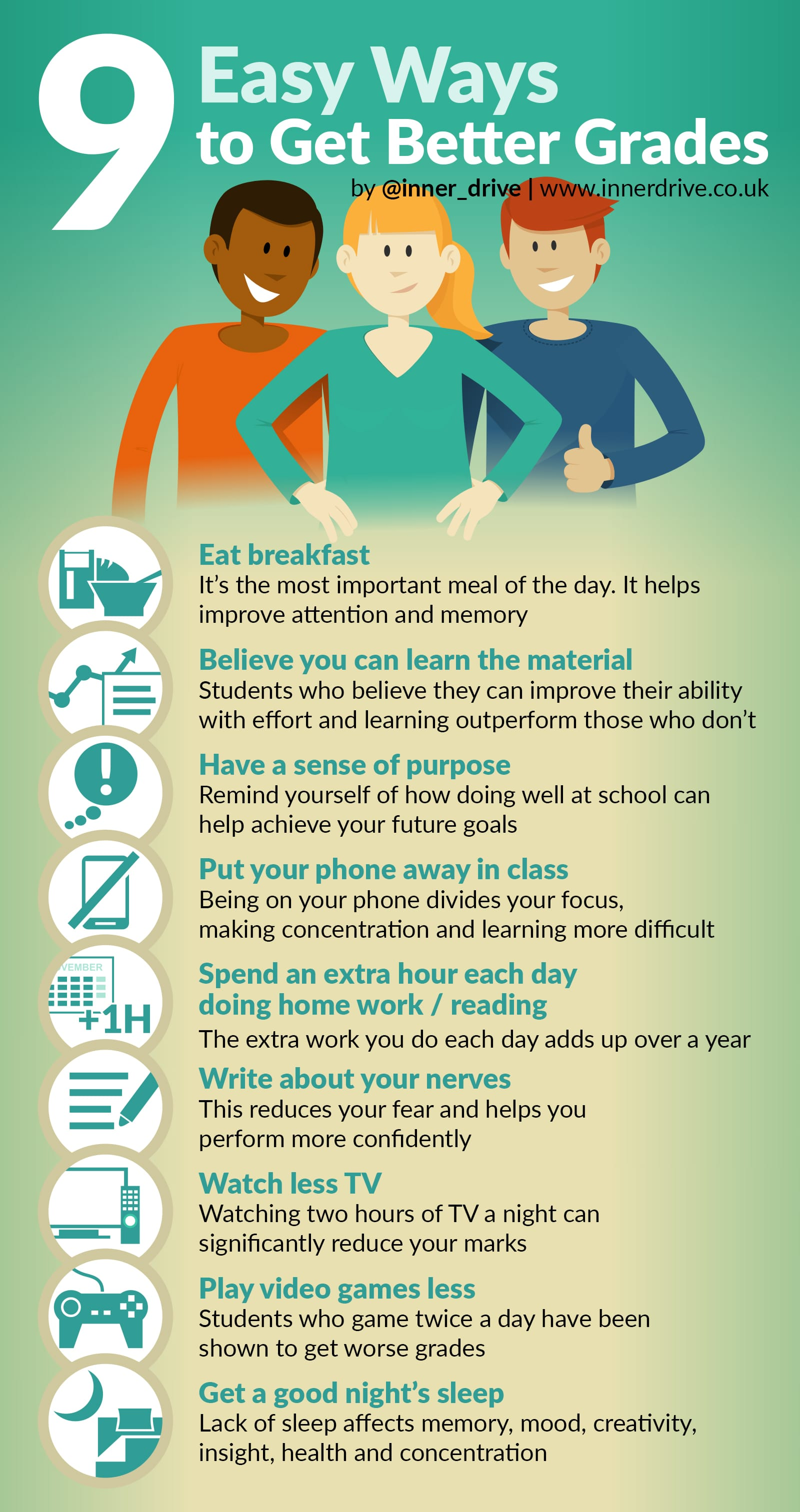 9 easy ways to get better grades infographic
