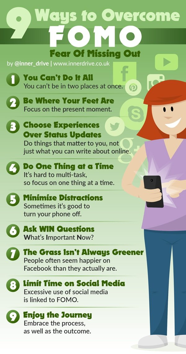 9 ways to overcome fomo (fear of missing out) infographic