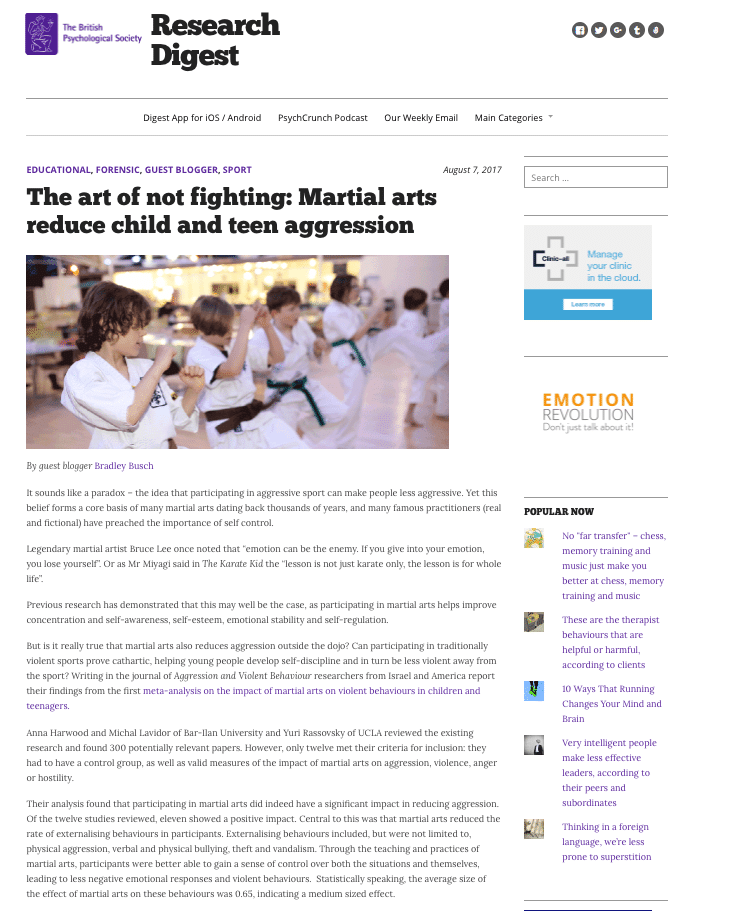 Martial Arts and Teen Aggression Digest